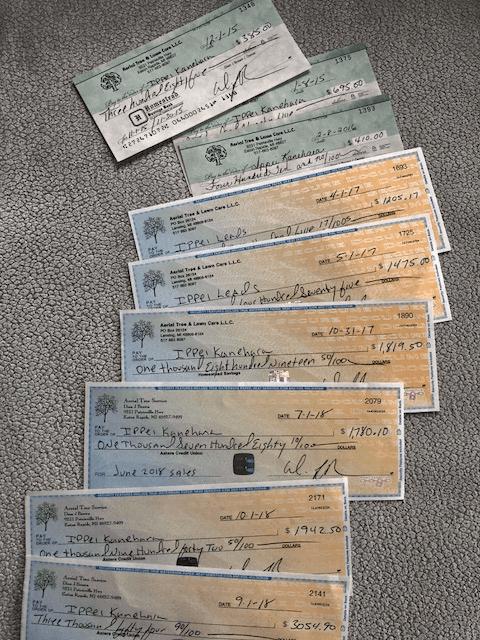 checks from tree service company image